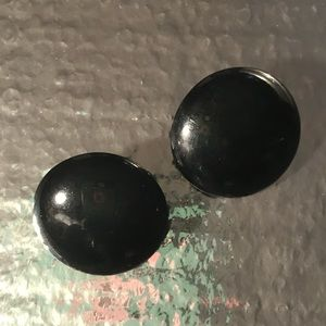 Big oversized black button Betsey Johnson earrings